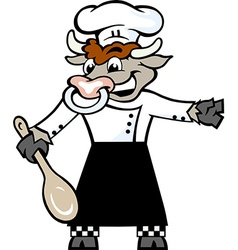 Hand-drawn of an Happy Bull Chef standing and vector image vector image