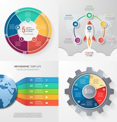 set of 4 infographic templates with 5 processes vector image vector image