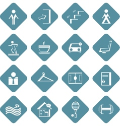 set of flat information symbols of sport center vector image