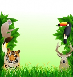 animal forest frame vector image