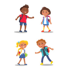 cheerful school children isolated vector image