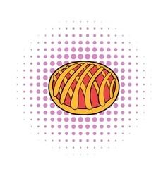 Cherry pie icon comics style vector