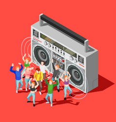 dancing isometric concept vector image vector image