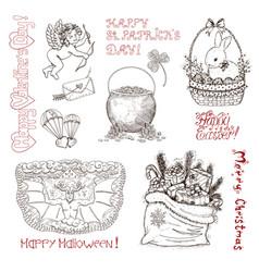 hand drawn vintage holidays set vector image