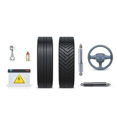 icons of car parts for garage auto car services vector image