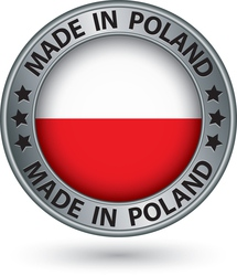 Made in Poland silver label with flag vector image vector image