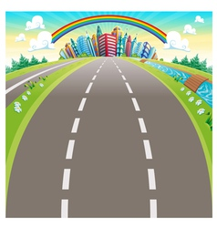 Roads to the city vector image