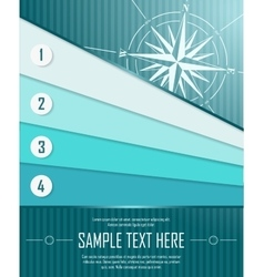 Blue abstract background with banners and windrose vector image vector image