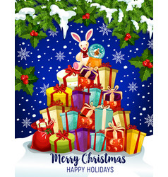 Christmas gift greeting card for winter holidays vector