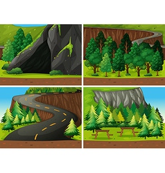 Forest and cave vector image vector image