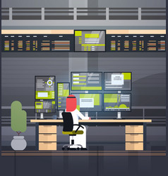 global online trading concept arab man working vector image