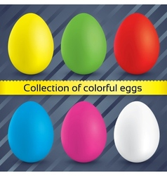Happy easter colorful eggs collection vector image vector image