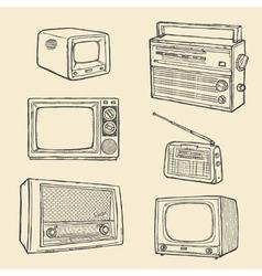 retro tv and radio set vector image