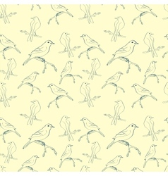 Seamless pattern with hand-written birds vector image