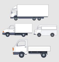set of different trucks and van truck bodies vector image vector image