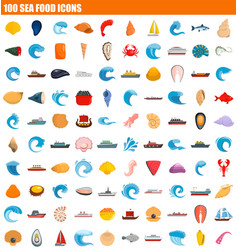 100 sea food icon set flat style vector image