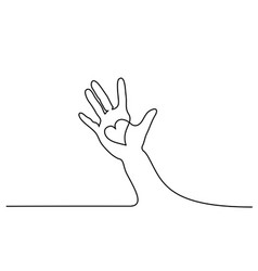 Abstract hand holding heart continuous one line vector