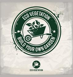 Alternative eco vegetation stamp vector