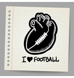 American football shaped heart vector