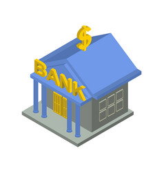 Bank building isometric isolated financial vector