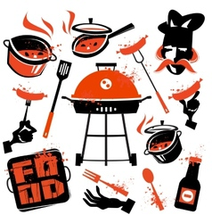 BBQ logo design template cooking or vector image