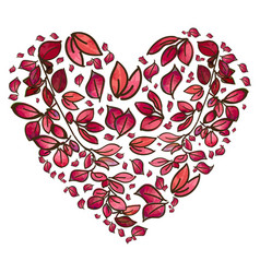beautiful background with autumn leaves heart vector image