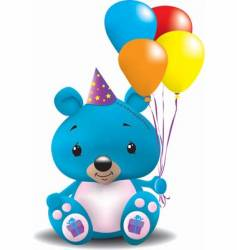 birthday teddy bear vector image