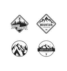 black and white forest mountain adventure logo set vector image