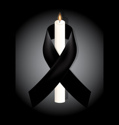 black awareness ribbon with white candle on white vector image