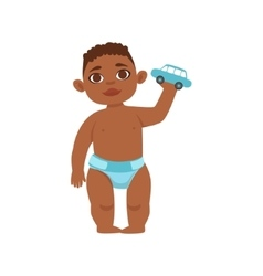 Black Boy Toddler In Diaper Holding Toy Car Part vector
