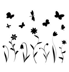 Black flowers butterflies and dragonflies vector