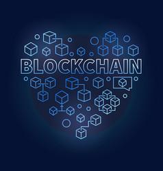 blockchain technology blue heart i love block vector image