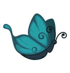 Blue cartoon butterfly from side view isolated vector