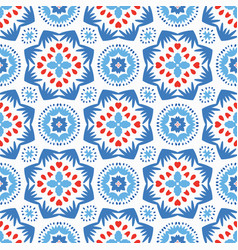 blue flower pattern boho ornament vector image