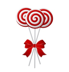 Bunch red and white candies with red ribbon vector