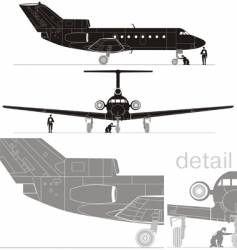 Business jet silhouettes vector