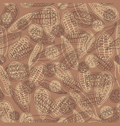 cacao pods seamless repeat pattern background in a vector image