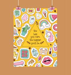 Cartoon pattern girlish accessories lipstick vector