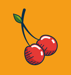 Cherry fresh fruit handmade drawn vector