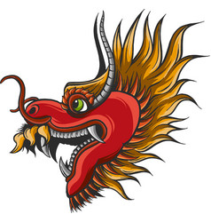 Chinese dragon power and flames wisdom flying vector