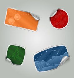 Christmas colorful stickers with texture vector