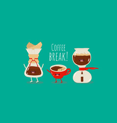 coffee dripper filter pour over maker image red vector image