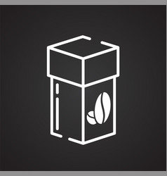 coffee outline icon on black background for vector image