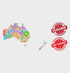 Collage safeguard australia and new zealand map vector