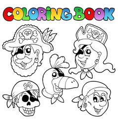 Coloring book with pirate topic 5 vector