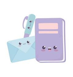 Cute book envelope and pen kawaii cartoon vector