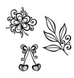 Decorative cherry branch set vector