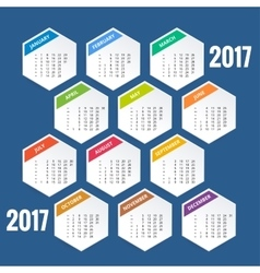 Design of Wall Monthly Calendar for 2017 Year vector
