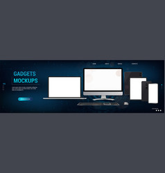 devices mockups set realistic style vector image