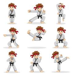 Different poses of karate kid vector